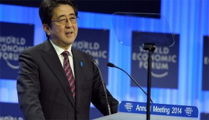 Japanese Prime Minister Shinzo Abe discusses Japan's relationship with China today at the World Economic Forum meeting in Davos