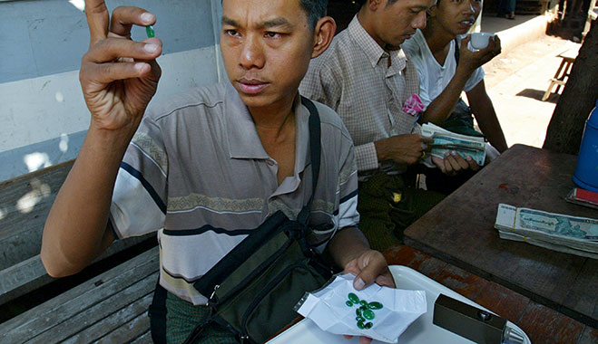 Gem dealer in Myanmar