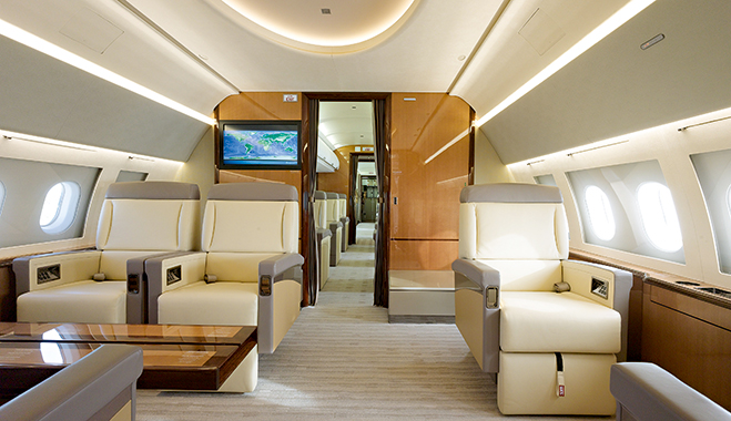 A home away from home? AMAC Aerospace private jets are designed to provide cash-rich, time-poor executives with a comfortable home office in the sky