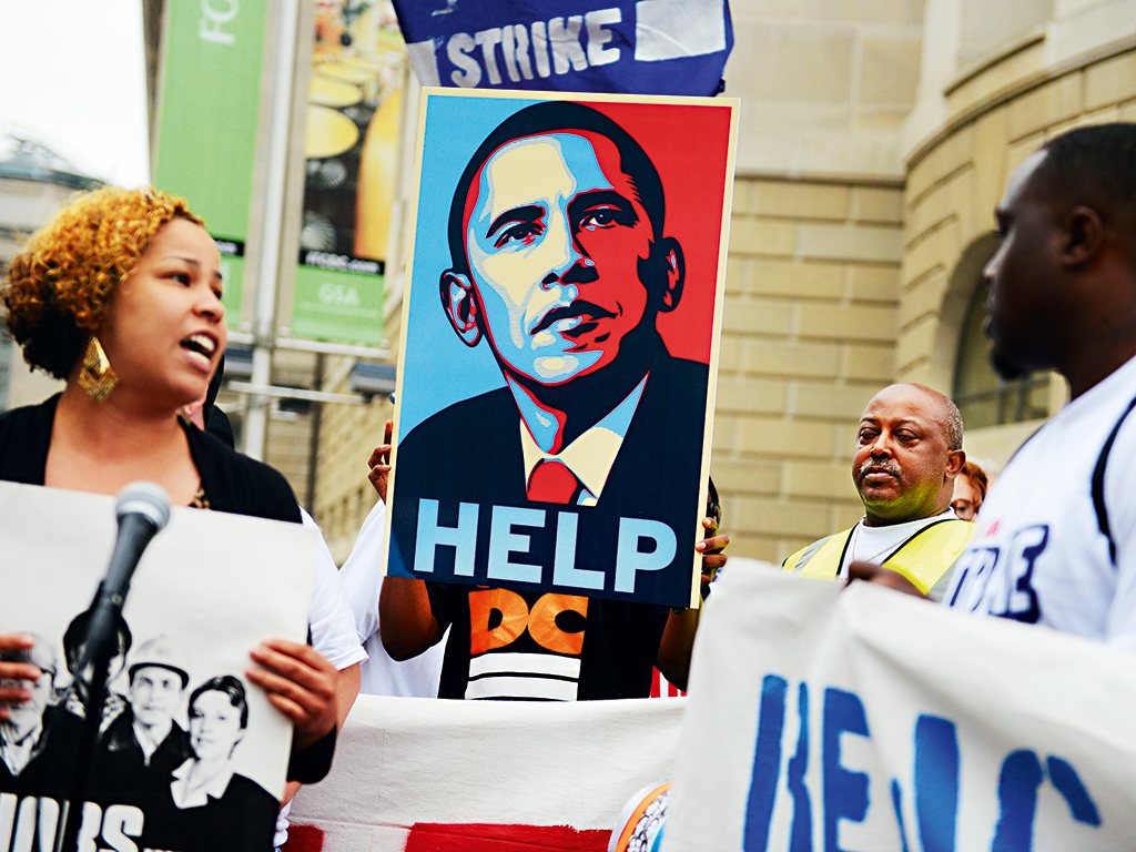 Workers in America champion President Obama's intent to increase the minimum wage. Several economists have criticised the proposed increase, arguing that it could 'destroy' jobs and sabotage economic growth