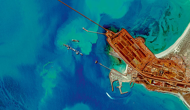 Cape Lambert, an Australian sea port for exporting iron ore operated by Rio Tinto
