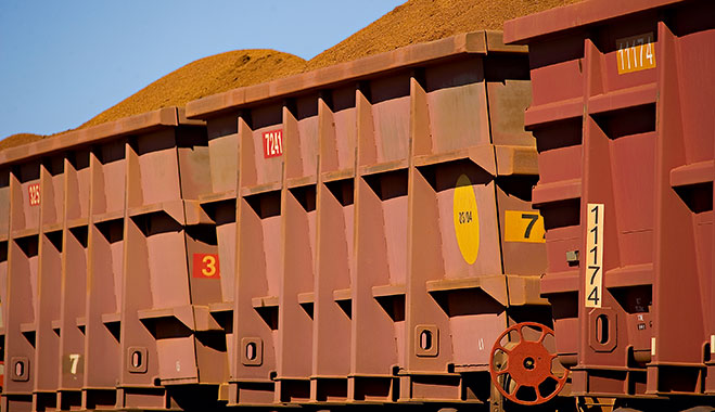 Iron ore is transported at Rio Tinto's Perth plant, Australia