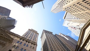 High-rise buildings on Wall Street, New York City. Studies suggest that the majority of people believe big businesses value profit above all else, even if they themselves claim otherwise