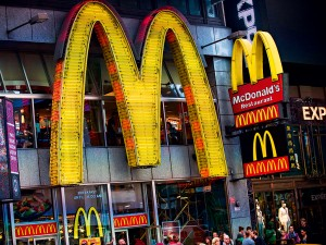 A McDonald's sign in Times Square, New York City. McDonald's is part of one company's 'Seven Deadly Sins' investment theme - which also includes British American Tobacco and gun manufacturer Sturm Ruger