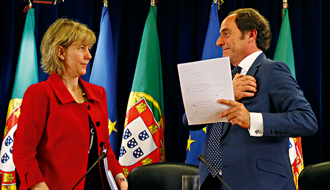Portuguese Finance Minister Maria Luís Albuquerque (l) and Vice Prime Minister Paulo Portas (r) at a press conference announcing the results of the last assessment by Troika auditors