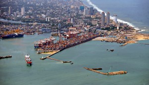On-going construction work on a new jetty in the port of Colombo, Sri Lanka. The country has transformed itself from a war zone to an economic centre