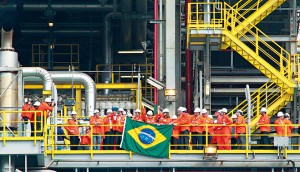 Brazilian President Dilma Rousseff (c) during the inauguration of Petrobras' P-56 platform, at the shipyard in Angra dos Reis, South of Rio de Janeiro