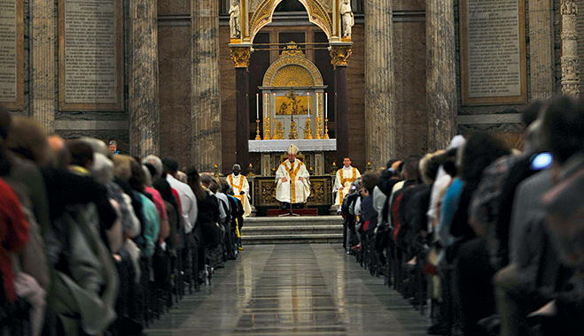 Cardinal George Pell during a sermon at the Papal Basilica of St Paul's Cathedral in Rome, Italy