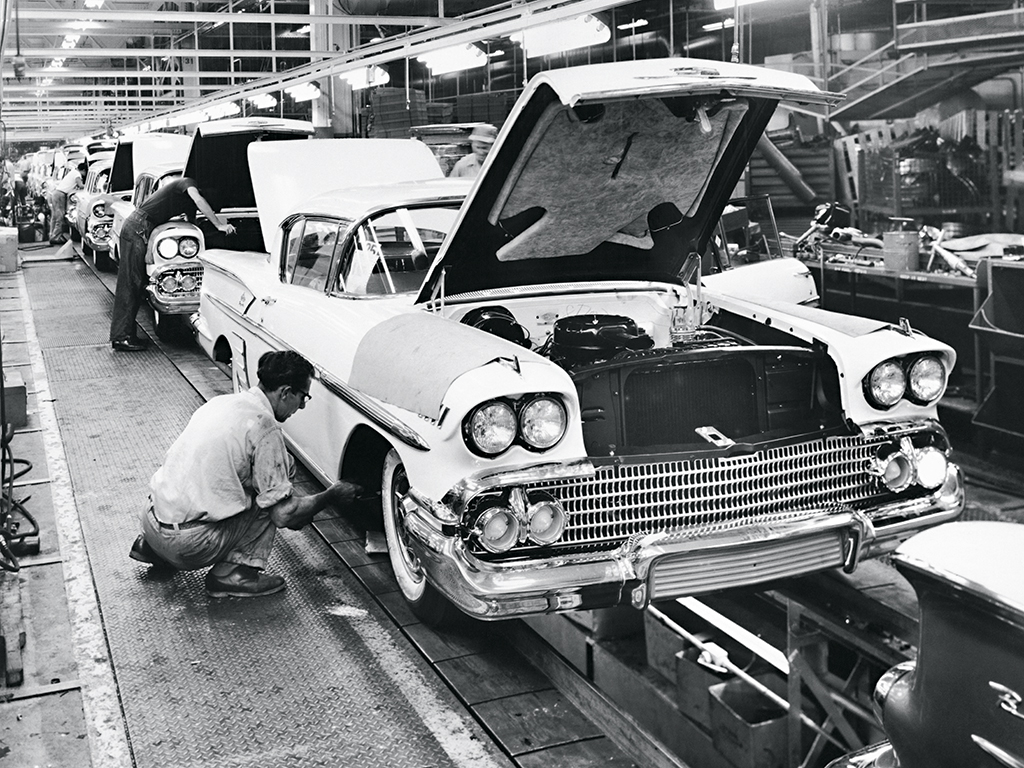 Detroit's automobile industry hit its peak in the 1950s