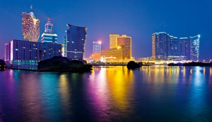 Macau at night. It is the largest gaming city in the world in terms of revenues, attracting more than 30 million visitors a year