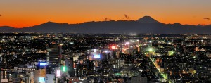 The cityscape of west Tokyo and Mount Fuji. Data shows Japan's exports have risen by 17 percent in January from the previous year, thanks to increased shipments of machinery, vehicles and electronics