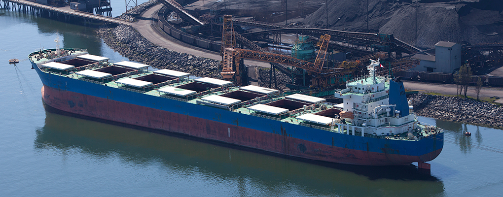 A ship carrying coal. The Baltic Dry Index, which tracks vessels like this, has dropped by three percent - a blow to those counting on the shipping market for economic growth