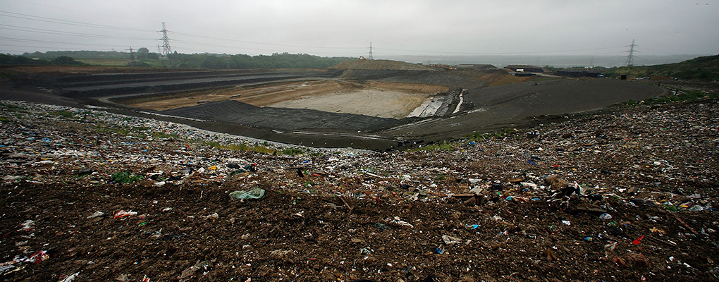 A landfill site in Canterbury. Many are concerned traditional forms of waste disposal cannot keep up with its rate of production. Companies such as Unilever have invested in zero-waste technology