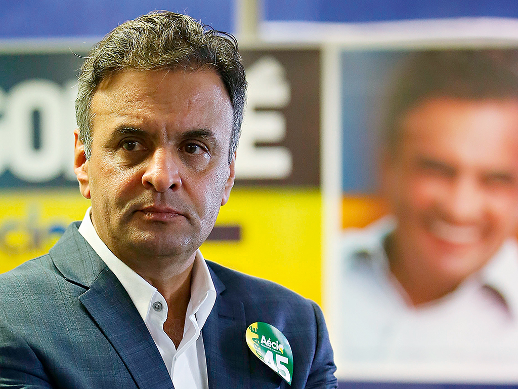 Aécio Neves, Rousseff's rival for president and candidate for the Brazilian Social Democratic Party (PSDB)
