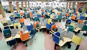 One of the many call centres located in the Indian city of Bangalore. The country has a large talent pool in terms of engineering and scientific minds, and yet has always struggled to capitalise on these