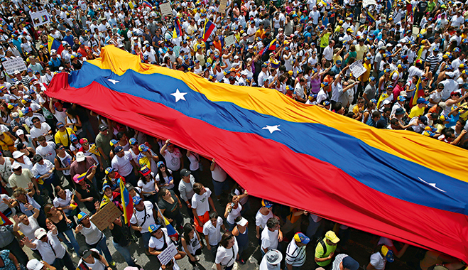 Protests against the government of Venezuelan President Nicolás Maduro. The government has been forced to rethink its reliance on oil and restrictive currency controls as its nation suffers