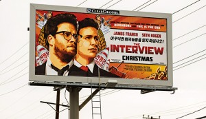 A billboard for the film The Interview. Sony cancelled the original release of the film after a hacking scandal exposed sensitive internal communications