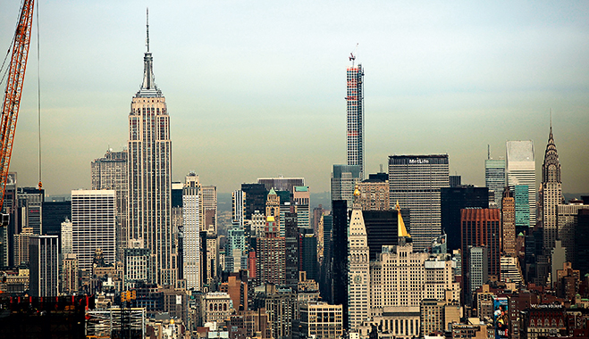 Manhattan's skyline, with many high-rise and exclusive condos. Foreign property investment is increasing in the city