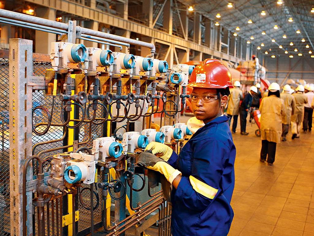 A worker at the Camden Power Station in Ermelo, Mpumalanga