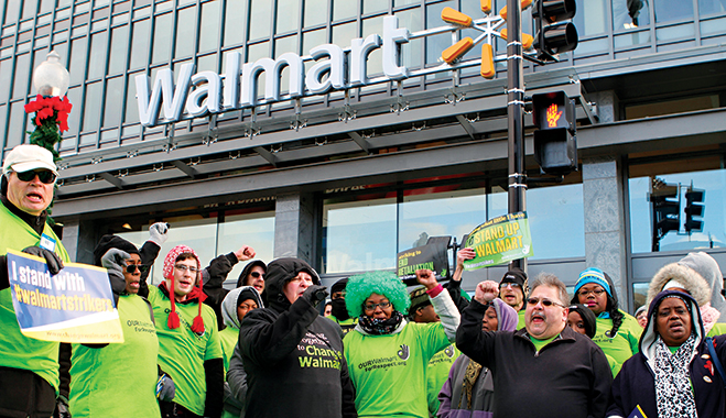 Protesters demanding higher wages at a Walmart store in Washington last year