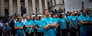 Participants at a Fitbit lunchtime workout event yesterday as the brand made its debut as a public company on the New York Stock Exchange