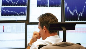 A trader looks on during a trading session at the  Frankfurt Stock Exchange. Global exchanges were affected during the Flash Crash