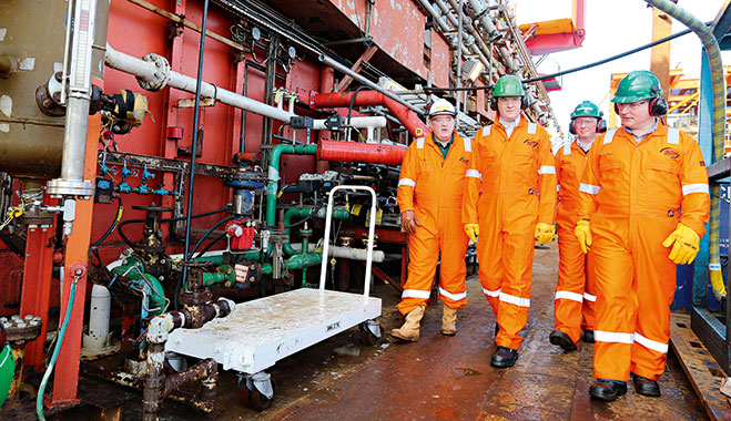 Chancellor of the Exchequer George Osborne visits the Montrose Platform in the North Sea. The UK government cut tax for the oil sector in March