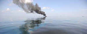 Oil burns in the Gulf of Mexico following the Deepwater Horizon oil spill. BP has been ordered to pay a record $18.7bn fine - in addition to $43.8bn of damages related to the disaster