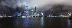 """Shanghai, China, at night. The IMF has warned that an economic slowdown in the country does not necessarily signal a crisis, but a """"natural reaction"""" to problems in the global economy"""