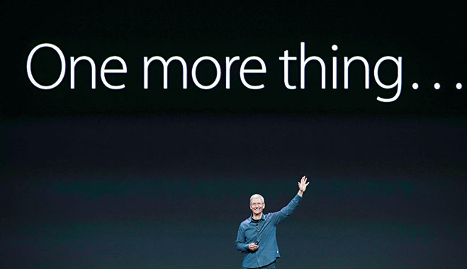 Tim Cook announces a new product in Apple's trademark style. The company could announce a foray into asset management in the future