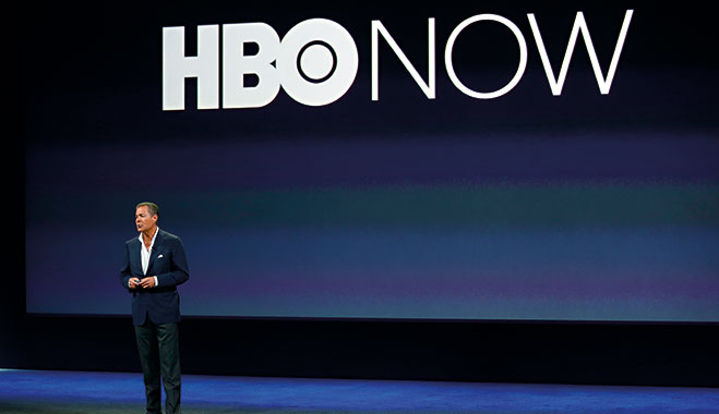 HBO CEO Richard Plepler speaks on stage in San Francisco. The company expanded its streaming offering earlier this year