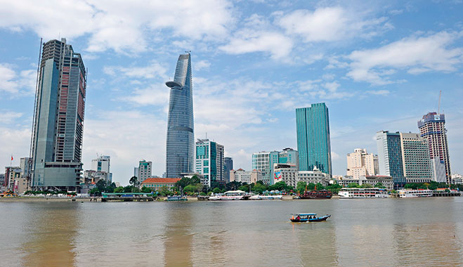 The central financial district of Ho Chi Minh City, Vietnam. The banking industry is critical to the country's economic success