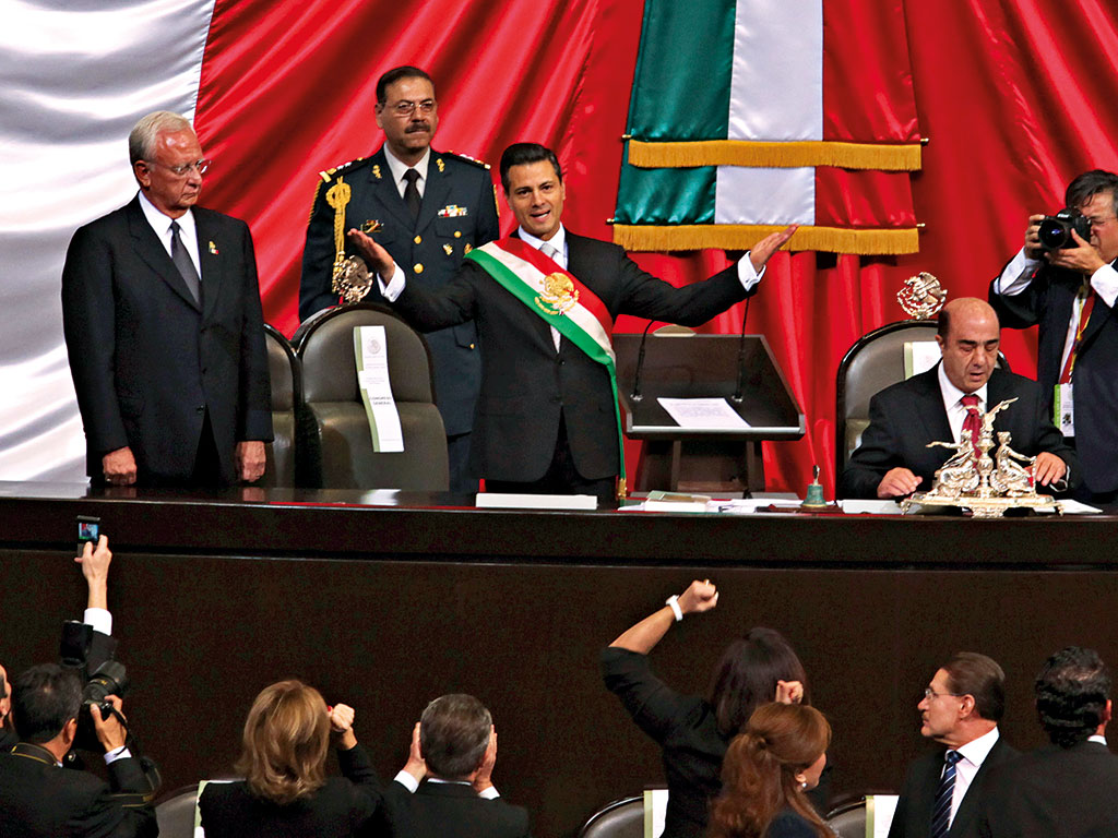 Mexico's President Enrique Peña Nieto during his swearing in at the Chamber of Deputies, Mexico City