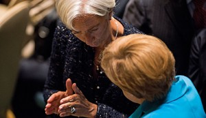 Managing Director of the IMF, Christine Lagarde, and German Chancellor Angela Merkel are two of a relatively small number of women in high positions of power