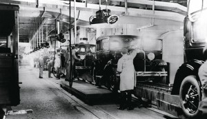 The production line at the Ford factory in 1931, in Detroit, US