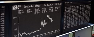 The index board at Deutsche Börse. The group has recently engaged in talks with the LSE over a potential merger