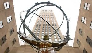 A statue of Atlas stands between buildings at the Rockefeller Center, New York City. The Rockefeller family office - one of the US' oldest - now has over 250 clients