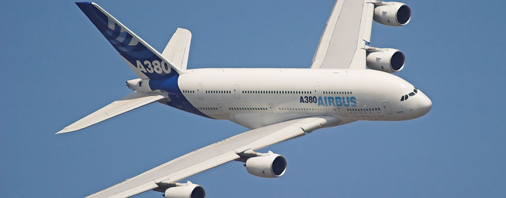 An Airbus A-380 on display at the Farnborough Air Show. In the first day of this year's show, Airbus secured orders worth $23.5bn from mainly Asian carriers