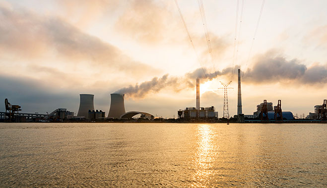 Coal-fired power plant on the banks of Huangpu River near Shanghai