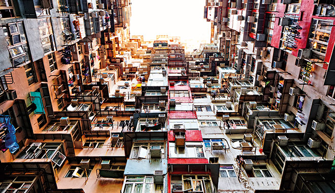 High-rise apartments in Hong Kong. Property sales in the city have fallen recently, but there is an argument that the housing market is far from crashing