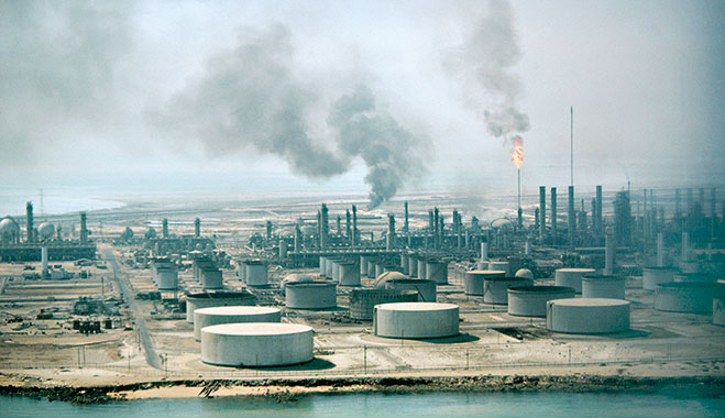 The Aramco oil refinery in Saudi Arabia
