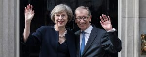 Theresa May, with her husband Philip May, arrives at 10 Downing Street. After formally taking office, the UK's new prime minister has executed a major cabinet reshuffle