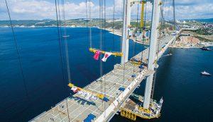 The Izmit Bay Suspension Bridge, part of the Gebze-Orhangazi-Izmir motorway, midway through construction