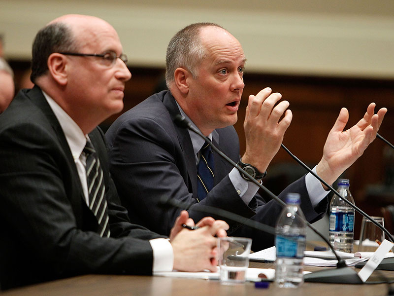 Former CEO of Fannie Mae Daniel Mudd speaks during a Financial Crisis Inquiry Commission hearing. Mudd was one of six former executives to be sued by the SEC following the 2008 financial crisis