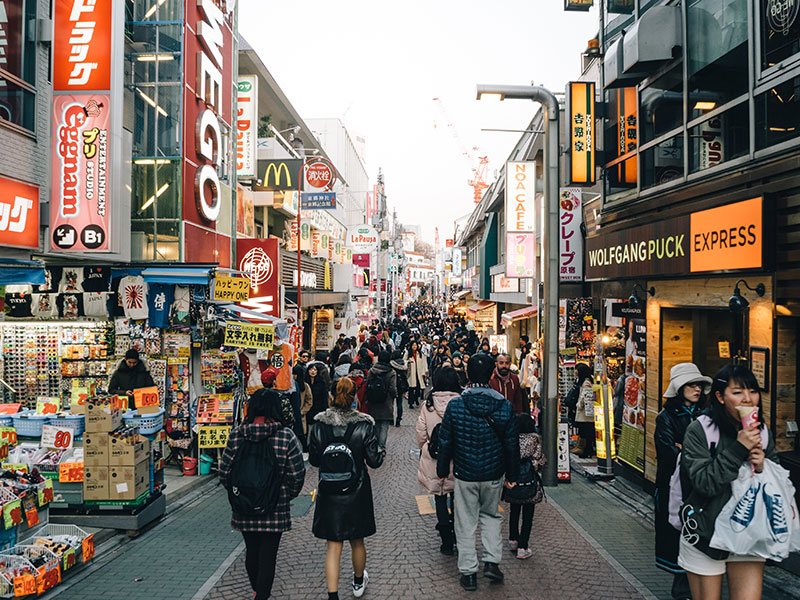 A busy street in the Harajuku area of Tokyo. The Japanese economy has shown disappointing growth in Q2 2016