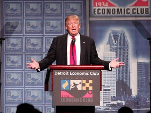 US presidential candidate Donald Trump speaking about his economic vision at Detroit Economic Club on August 8