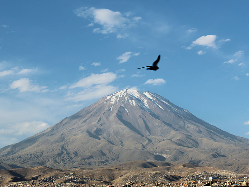 Misti, a volcano in Peru. Natural disasters are a frequent threat in Peru, and a challenge for the country's insurers