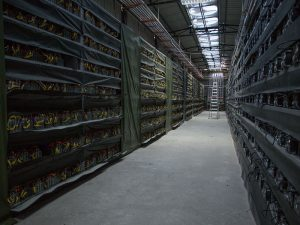 HaoBTC's Bitcoin mine, near Kongyuxiang, China. The value of Bitcoin surged to a three-year high during the first day of trading in 2017
