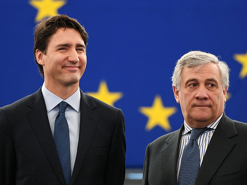 Canadian Prime Minister Justin Trudeau and European Parliament President Antonio Tajani. The European Parliament has recently approved the EU-Canada CETA trade deal