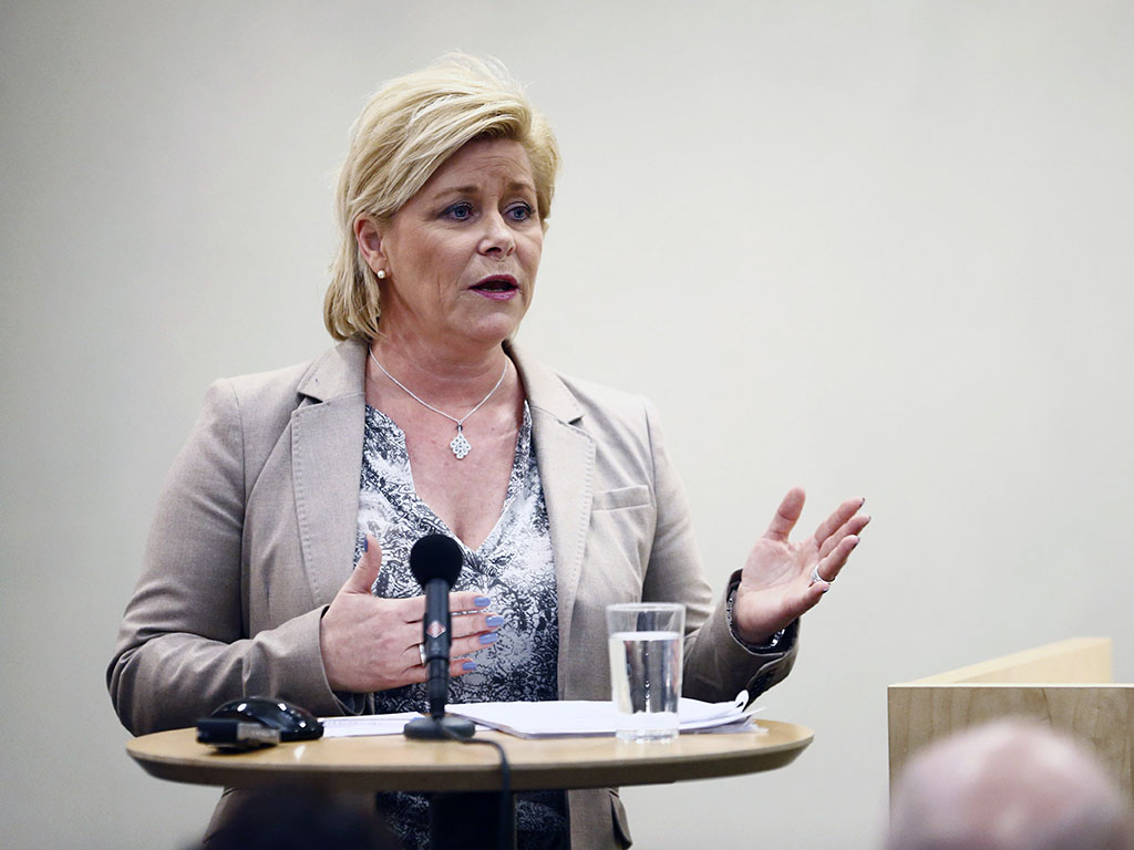 Norwegian Finance Minister, Siv Jensen. Jensen has expressed her support for Norway's proposed plans to channel investments towards stocks and away from bonds